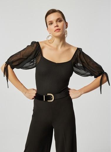 Monamoda Kare Yaka Organze Balon Kol Body Suit Siyah